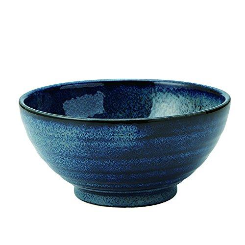 (Zen Table Japan Large 40 oz Ramen Noodle, Udon, Pasta, Soup, Donburi SANUKI Bowl/Serving Bowl Japanese Navy Color Deformation during Firing (Youhen-kon) -Made in Japan )