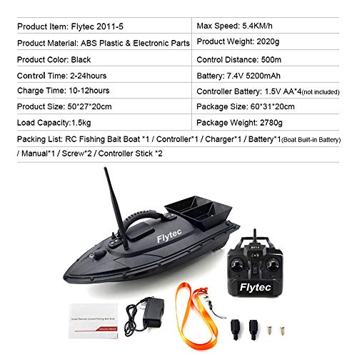 Auvem Remote Control Fishing Bait Boat, Fish Finder 1.5kg Loading 500m Fishing Tool Smart RC Boat Toy Wireless Smart Fishing Device Great Present Toy Beginners, Kids & Adults (Black) by Auvem (Image #6)