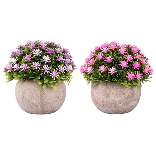 Drhob Mini Artificial Flowers (Purple and Pink), Plastic