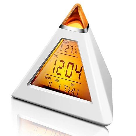 KOBWA - Reloj despertador con 7 colores cambiantes, triángulo creativo, luz de fondo multifunción
