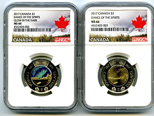 CA 2017 CANADA $2 WORLDS FIRST GLOW IN THE DARK TOONIE DANCE OF THE SPIRITS TWO COIN SET NGC MS66 ()