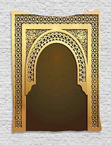 - Ambesonne Moroccan Tapestry, Middle Eastern Culture Greeting Scroll Arch Figure Celebration Ancient Theme, Wall Hanging for Bedroom Living Room Dorm, 60 W X 80 L Inches, Yellow and Brown