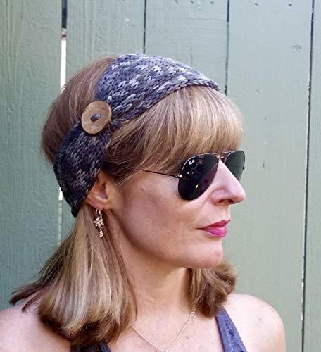Handmade Grey Tweed Knit Headband with Coconut Button