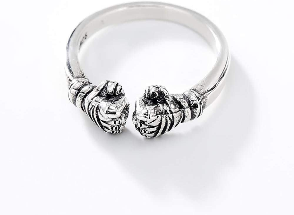 Daeou Open Ring S925 Sterling Silver Men and Women Style Simple Personality Boxing Ring