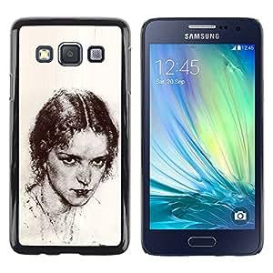 rígido protector delgado Shell Prima Delgada Casa Carcasa Funda Case Bandera Cover Armor para Samsung Galaxy A3 SM-A300 /Beautiful Girl Pencil Coal/ STRONG
