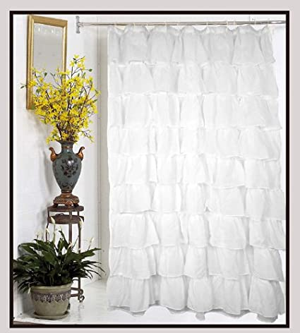 Amazon.com: Carmen Crushed Sheer Voile Fabric Shower Curtain-White ...