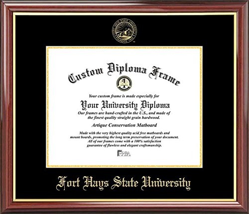 Laminated Visuals Fort Hays State University Tigers - Embossed Seal - Mahogany Gold Trim - Diploma Frame