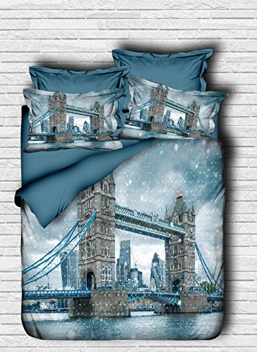 Bekata 3D Printed City Series, London Tower Bridge Themed, %100 Cotton Double/Queen Size, Quilt/Duvet Cover Set Reversible, COMFORTER INCLUDED 5 PCS ()