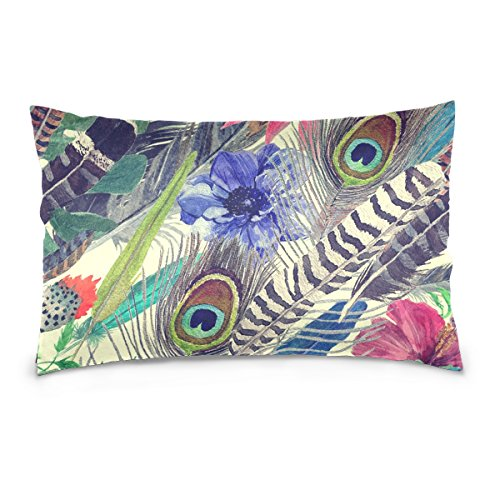 Top Carpenter Vintage Style Exotic Feathers Flowers Velvet Oblong Lumbar Plush Throw Pillow Cover/Shams Cushion Case - 20x30in - Decorative Invisible Zipper Design for Couch Sofa Pillowcase Only
