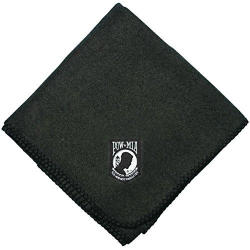POW MIA Logo Direct Embroidered Black Stadium Blanket (58X52)