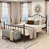 BUFF HOME Queen Size Metal Bed Platform Frame with Headboard and Footboard Mattress Foundation Metal Slat Support Box Spring Replacement for Kids Adult Beds Light Brown