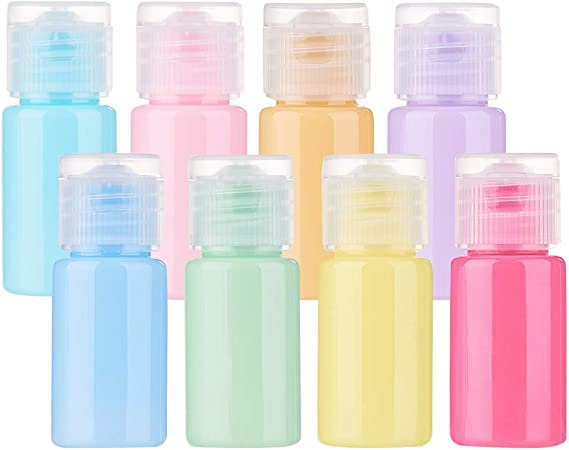 BENECREAT 24 Pack 10ml Botella Vacía de Viaje de Plástico para Champú Lociones Jabón líquido para el Cuerpo Cremas Contenedor Macarrón Color de Cosmético: Amazon.es: Hogar