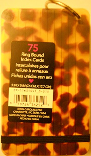 Plastic Mylar Covers (STUDIO C Ring Bound Ruled 3 x 5 Index Cards, Leopard)
