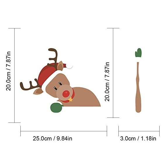 Santa Claus taking off hat JEYODA Elk Santa Wiper Sticker Removable Car Rear Windshield Wiper Sticker Snowman Car Sticker Shake Arm Sticker