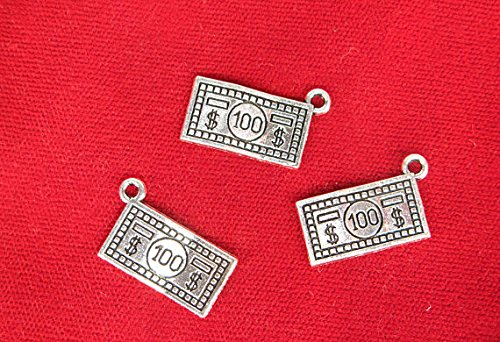 BULK 30pc quot100 dollar billquot charms in antique silver style BC1255B