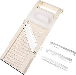 Benriner Mandoline Slicer, Japanese Stainless Steel Blade, BPA Free, Beige Super Slicer, Beige with 4 Japanese Stainless Steel Blades Beige