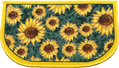Kashi Home D-Shape Mat with Latex Back Sunflower Series Kitchen Rug, 18'' by 30'' by Kashi Home