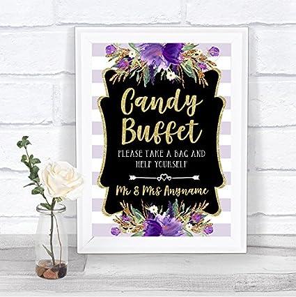 Oro y morado a rayas caramelos bufé personalizado de boda ...
