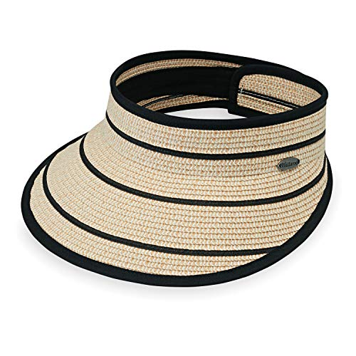 Wallaroo Hat Company Women's Savannah Visor - Camel/Black Stripes - Broad Brim Visor, Elegant Style, Designed in Australia
