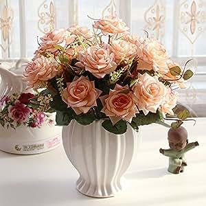 Beata. T Continental emulación rosa Artificial flores adornos Sala de estar mesa de comedor Botella de plástico maceta, amueblada + 4Durian haz crimpadora rosa/café
