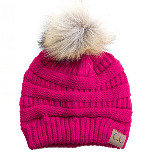 Ribbed Stretch Knit (ScarvesMe CC Soft Stretch Cable Knit Ribbed Faux Fur Pom Pom Beanie Hat (Hot Pink))