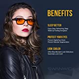 Blue Light Blocking Glasses - Swannies Gamer and Computer Eyewear - Filter Artificial Light for Deep Sleep - Digital Eye Strain Prevention - by Swanwick Sleep - an FDA Registered Company