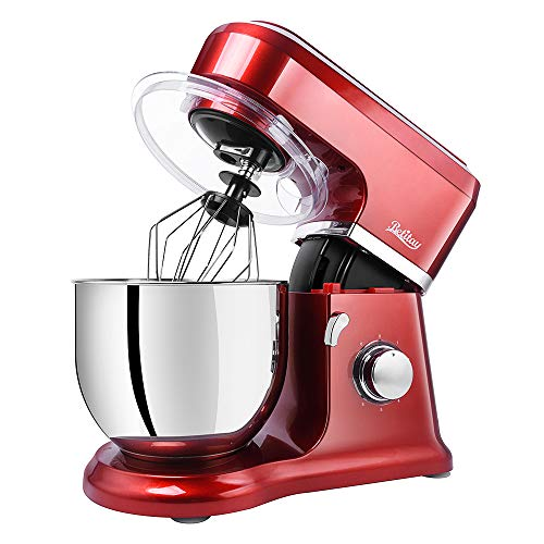 Cheap Betitay Kitchen Dough Mixer, Cake Mixer with 6-Speed + Pulse Control, Multi-Purpose Parts Mixing Beater/Dough Hook/Whisk/Silicone Brush/Splash Guard, Stainless Steel Bowl(Red/Steel)