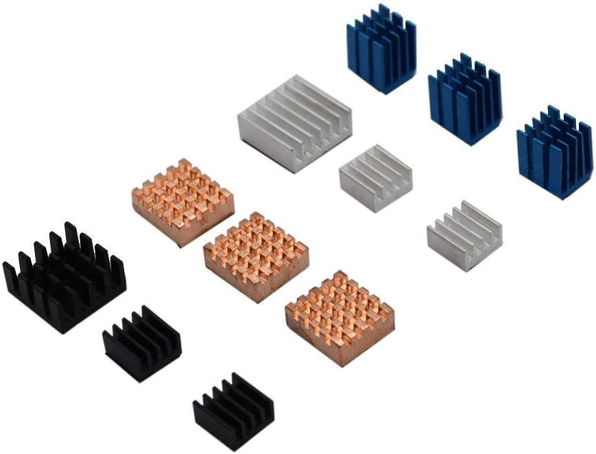 Nrthtri smt 12pcs Copper//Aluminum Heatsink Cooling Cooler Adhesive Fit for Raspberry Pi 3B Board