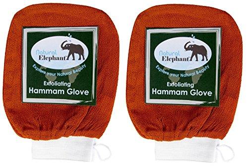 Natural Elephant Exfoliating Hammam Glove - Face and Body Exfoliator Mitt (Burnt Orange (Pack of 2))