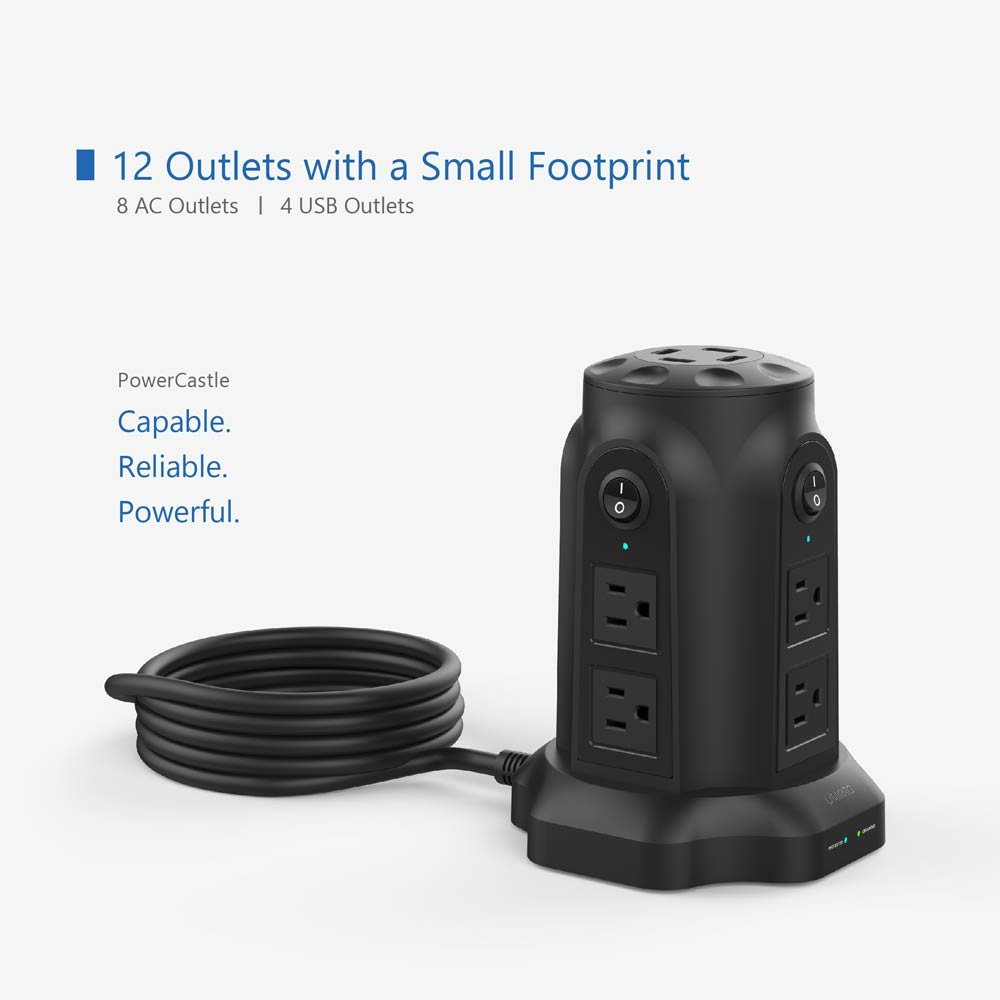 Usb Power Strip Umirro 8 Outlet Surge Protector With 4 Ports 68 Electronic Appliance Amp 35 Watt 1080 Joules Protection Pure Black