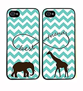 Funny Best Friends Elephants Giraffe Infinity White Printing Hard Back Cover Case Set Of Two (2) For iPhone 6 plus 5.5