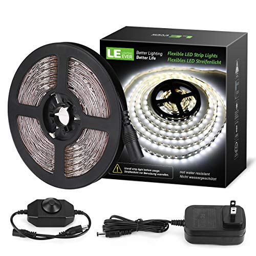 LE 16.4ft Dimmable LED Strip Light Kit with 12V Power Supply, 300 LEDs SMD 2835, Non-Waterproof LED Tape, Flexible Rope Light for Home, Kitchen, Under Cabinet, Bedroom, Daylight White]()