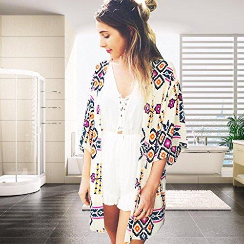 Femmes Cover Chemisier Kimono En Cardigan Kimono Chale Femmes de Gomtrie Jaune Tops Imprim Covermason up Mousseline Soie RRq1wOr
