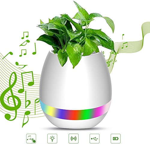 FENGRUI Smart Music Flowerpot Bluetooth Wireless Speakers Touch Plant Pot Piano-Playing Multi-color LED Night Light Great for Office Home Decor(White)