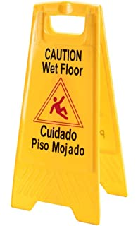 2 Pack ABCO Products 2 Sided Wet Floor Caution Sign English / Spanish,  Yellow