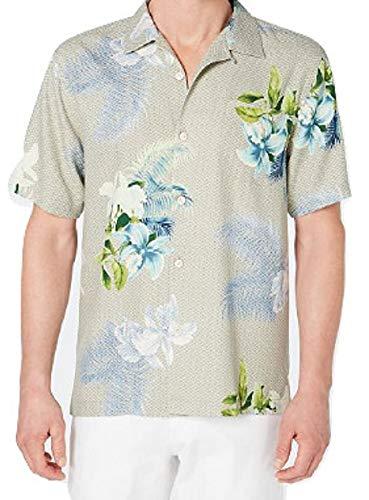 - Tommy Bahama Diamante Del Flora Silk Camp Shirt (Color: Tea Leaf, Size XL)