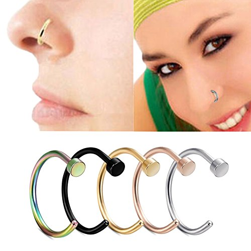 Miraculous Garden 20G 5pcs Stainless Steel Hypoallergenic Body Jewelry Piercing Nose Ring Hoop, Unisex (5PCS Pack) (Hypo Allergenic Nose Rings compare prices)