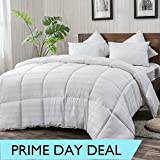 WhatsBedding White Cotton Comforter King Size, Tencel Fabric Content for Cooling, Down Alternative Fill Quilted Duvet Insert, Fluffy, Warm, Soft & Hypoallergenic, Medium Weight for All Season