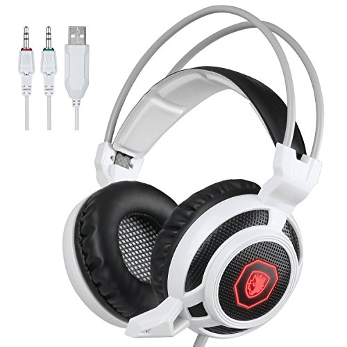 SADES Arcmage 3.5mm PC Gaming Headset Kopfhörer mit Mikrophon Volume Control Noise Canceling LED-Licht für PC Notebook Laptop (weiß)