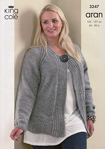 King Cole Plus Size Cardigan Top Fashion Aran Knitting Pattern