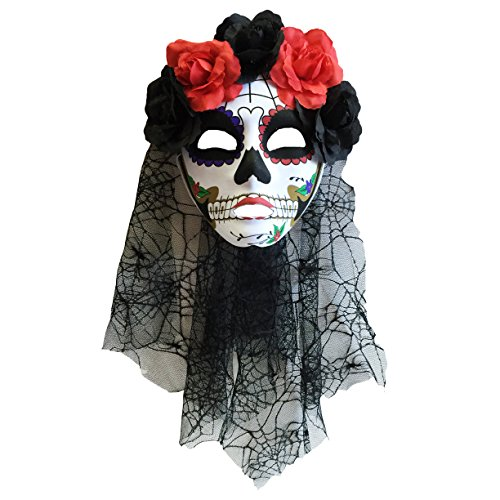 [Day of Dead Womens Halloween Flower Crown Mask with Black Veil (Black and White)] (Womens Day Of The Dead Costume)