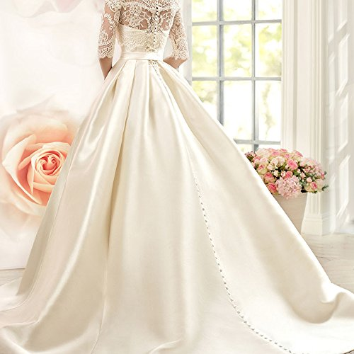 Gown 4 Ivory Satin Sweep Wedding Women's Dress Train Lace Bridal Sleeves 3 Yuxin XqUP7w