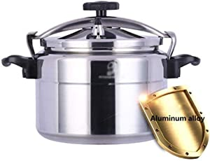 Explosion-proof pressure cooker, aluminum alloy commercial/domestic large-capacity pressure cooker, family, hotel, company, canteen 9L~50L (Color : Silver, Size : 9L)