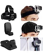GoPro tutacak paket için kafa ve sırt çantası Camkix–1saç bandı tutacak, 1şapka Schnellcliphalterung–1sırt çantası tutacağı–Teslimat kapsamına dahil tüm aksesuar tam ayarlanabilir–aynı şekilde 1kenarlı bir vidayla–tüm GoPro Hero modelleri ile uyumlu