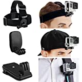 CamKix Head and Backpack Mount Bundle for GoPro Hero 5, Black, Session, Hero 4, Session, Black, Silver, Hero+ LCD, 3+, 3, 2, 1 - incl. Head Strap Mount / Hat Quick Clip Mount / Backpack Clip Mount