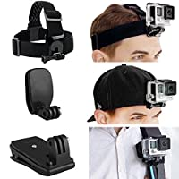 CamKix Head and Backpack Mount Bundle compatible with GoPro Hero 7, 6, 5, Black, Session, Hero 4, Session, Black, Silver, Hero+ LCD, 3+, 3, 2, 1 - incl. Head Strap Mount / Hat Quick Clip Mount / Backpack Clip Mount / Thumbscrew