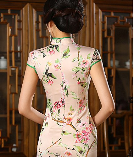 Luck Robe Chinois/Courte Robe Chinois Manche Courte Motif Fleur en Polyester
