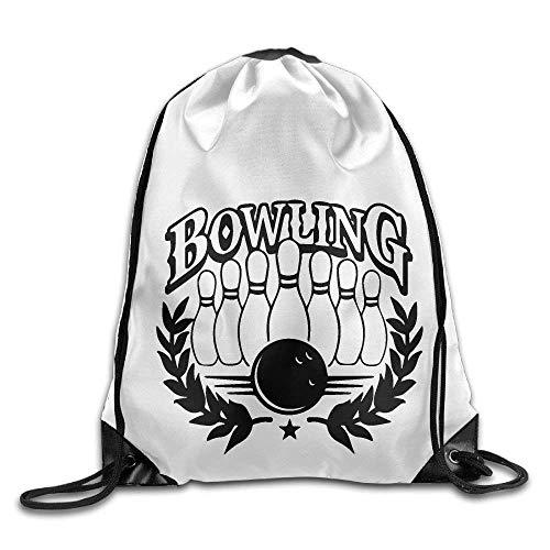 Bowling Print Drawstring Backpack Rucksack Shoulder Bags Gym Bag Sport Bag
