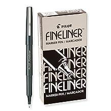 Pilot Fineliner Marker Pens, Fine Point, Black Ink, Dozen Box (11002)