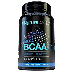 Natureganics MEGA BCAA Amino Acids Dietary Supplement, 1600 mg, 60 Capsules